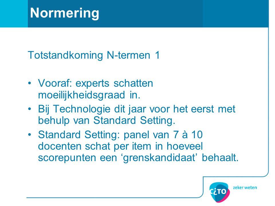 Normering Totstandkoming N-termen 1 Vooraf: experts schatten moeilijkheidsgraad in.