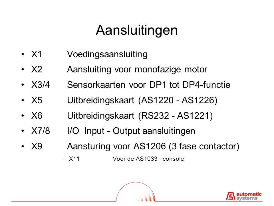 Aansluitingen X1Voedingsaansluiting X2Aansluiting voor monofazige motor X3/4Sensorkaarten voor DP1 tot DP4-functie X5Uitbreidingskaart (AS1220 - AS1226) X6Uitbreidingskaart (RS232 - AS1221) X7/8I/O Input - Output aansluitingen X9Aansturing voor AS1206 (3 fase contactor) –X11Voor de AS1033 - console