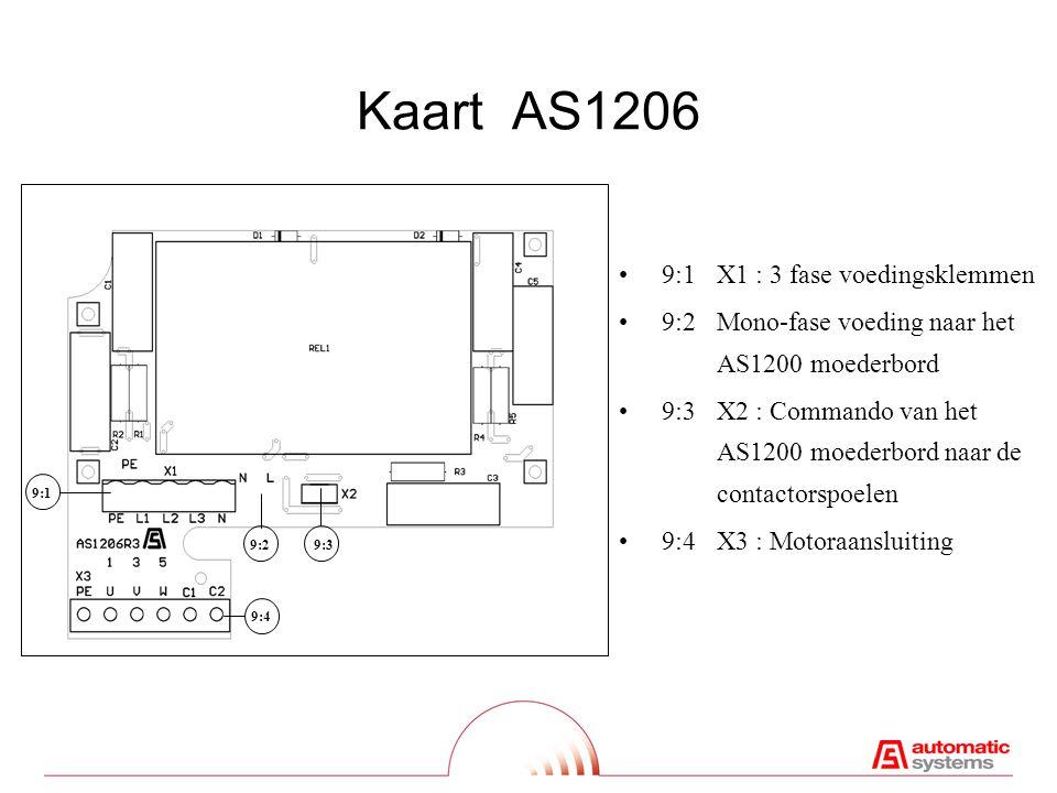 Kaart AS1206 9:1X1 : 3 fase voedingsklemmen 9:2Mono-fase voeding naar het AS1200 moederbord 9:3 X2 : Commando van het AS1200 moederbord naar de contactorspoelen 9:4X3 : Motoraansluiting 9:2 9:3 9:4 9:1
