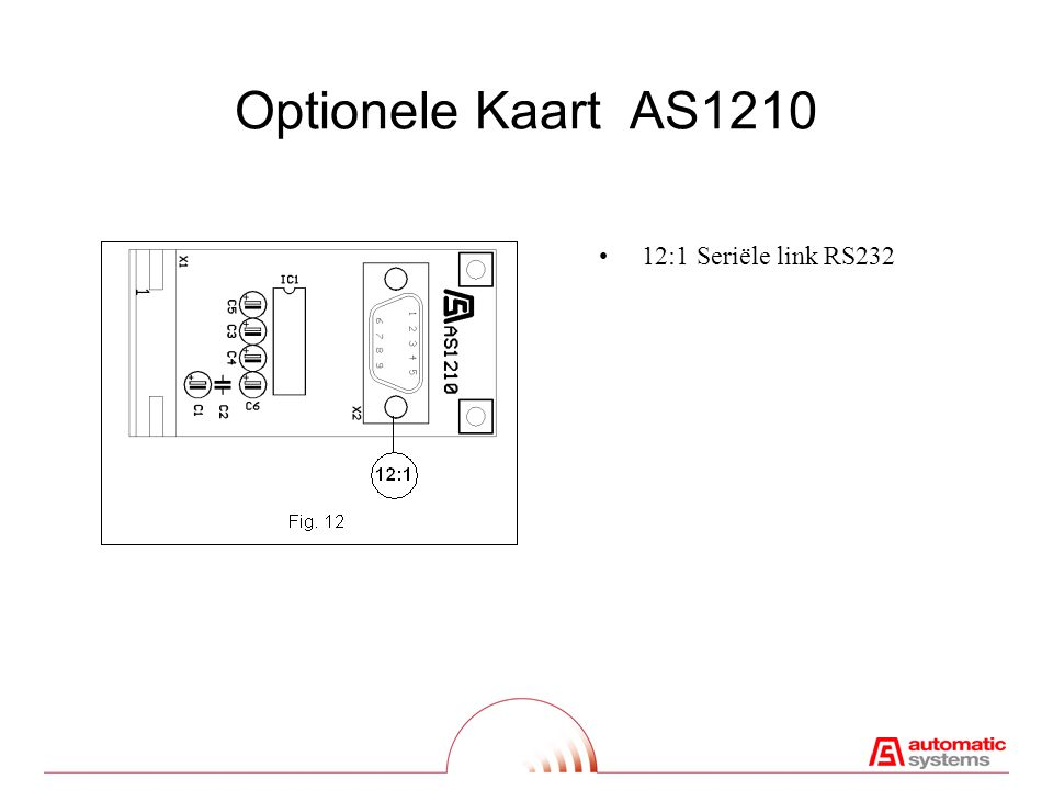 Optionele Kaart AS1210 12:1Seriële link RS232