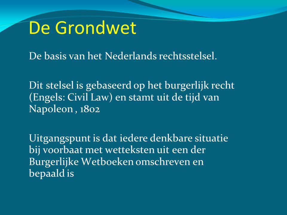 De Grondwet De basis van het Nederlands rechtsstelsel.