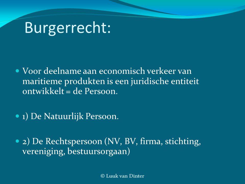 © Luuk van Dinter Burgerrecht: Voor deelname aan economisch verkeer van maritieme produkten is een juridische entiteit ontwikkelt = de Persoon. 1) De