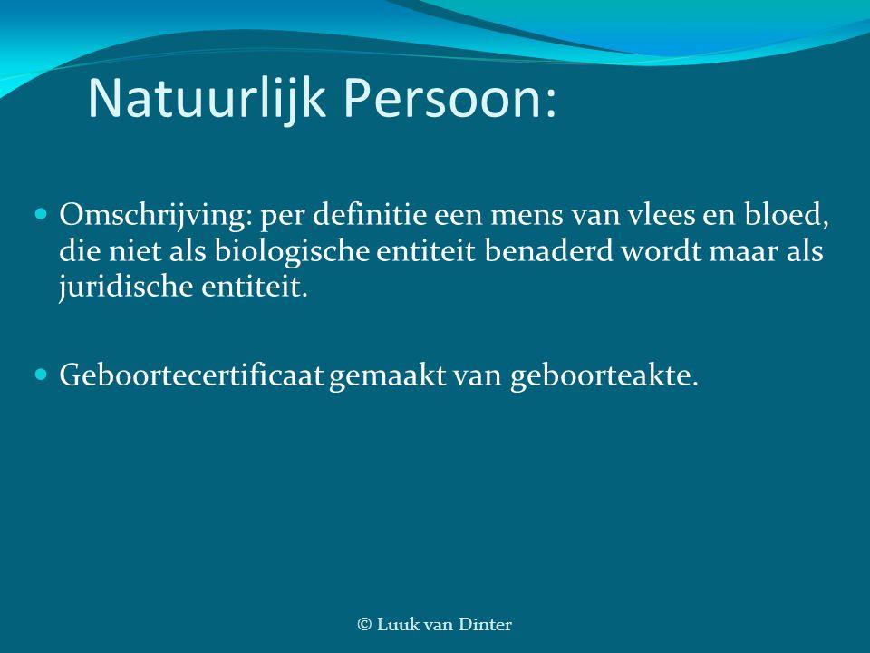 © Luuk van Dinter Natuurlijk Persoon: Omschrijving: per definitie een mens van vlees en bloed, die niet als biologische entiteit benaderd wordt maar a