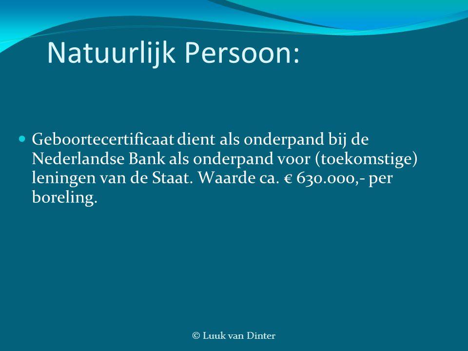 © Luuk van Dinter Natuurlijk Persoon: Geboortecertificaat dient als onderpand bij de Nederlandse Bank als onderpand voor (toekomstige) leningen van de