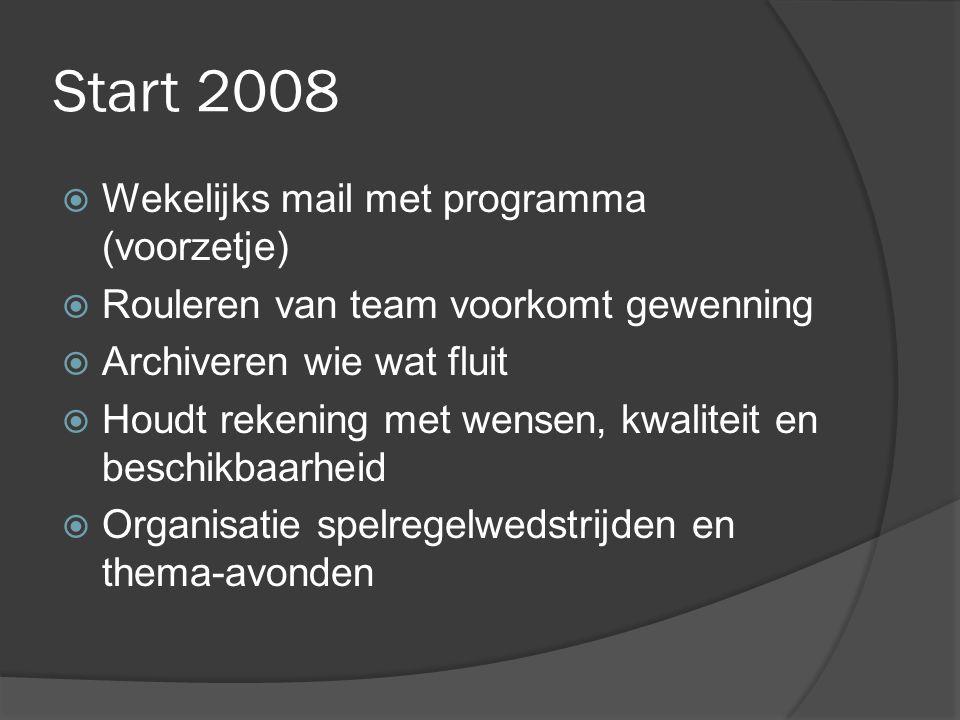 Start 2008  Wekelijks mail met programma (voorzetje)  Rouleren van team voorkomt gewenning  Archiveren wie wat fluit  Houdt rekening met wensen, kwaliteit en beschikbaarheid  Organisatie spelregelwedstrijden en thema-avonden