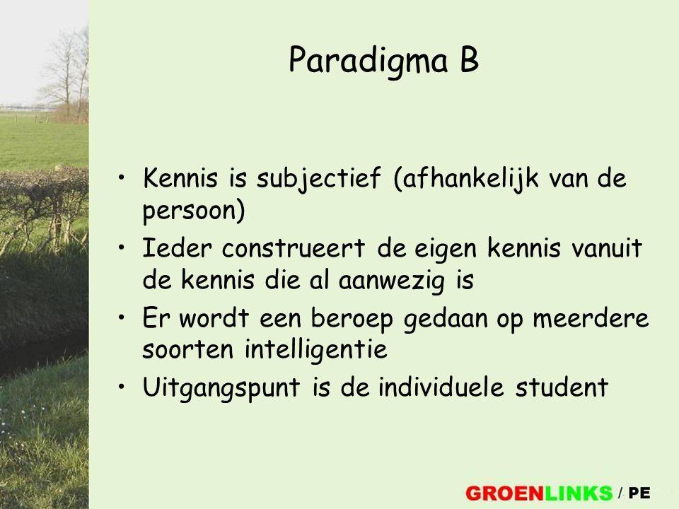 Paradigma B Kennis is subjectief (afhankelijk van de persoon) Ieder construeert de eigen kennis vanuit de kennis die al aanwezig is Er wordt een beroep gedaan op meerdere soorten intelligentie Uitgangspunt is de individuele student