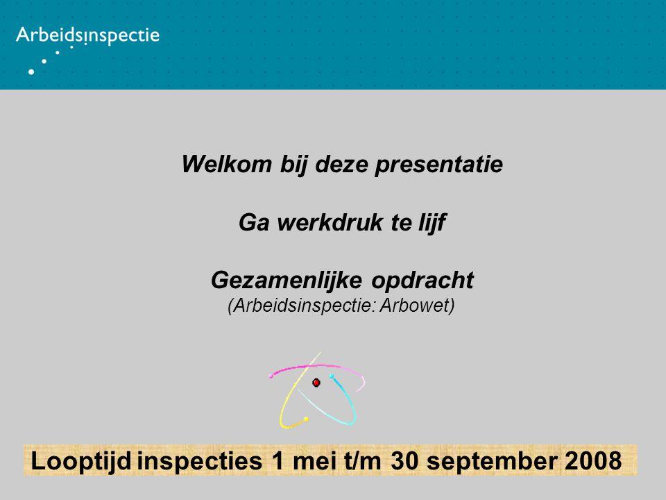 Welkom bij deze presentatie Ga werkdruk te lijf Gezamenlijke opdracht (Arbeidsinspectie: Arbowet) Looptijd inspecties 1 mei t/m 30 september 2008