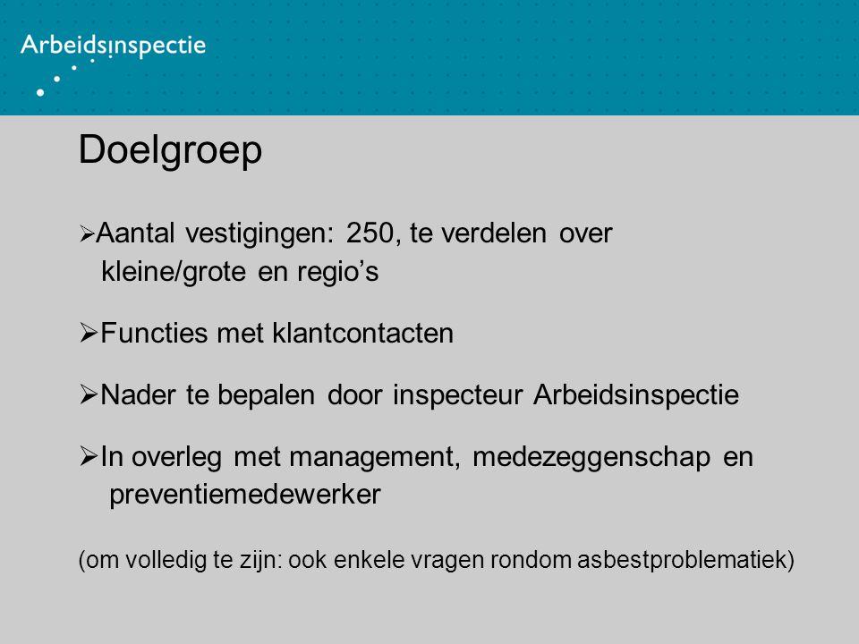 Doelgroep  Aantal vestigingen: 250, te verdelen over kleine/grote en regio's  Functies met klantcontacten  Nader te bepalen door inspecteur Arbeids
