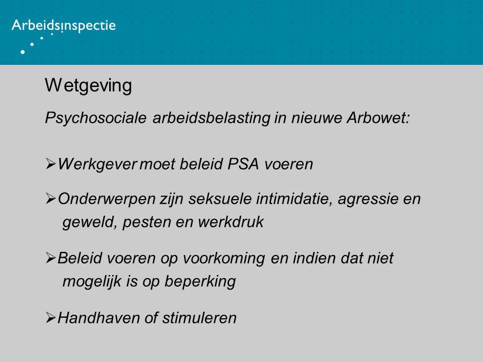 Wetgeving Psychosociale arbeidsbelasting in nieuwe Arbowet:  Werkgever moet beleid PSA voeren  Onderwerpen zijn seksuele intimidatie, agressie en ge
