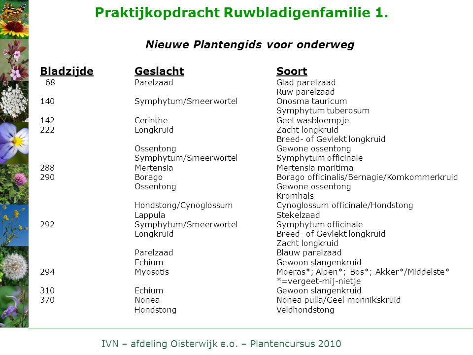 IVN – afdeling Oisterwijk e.o. – Plantencursus 2010 Praktijkopdracht Ruwbladigenfamilie 1. Nieuwe Plantengids voor onderweg BladzijdeGeslacht Soort 68