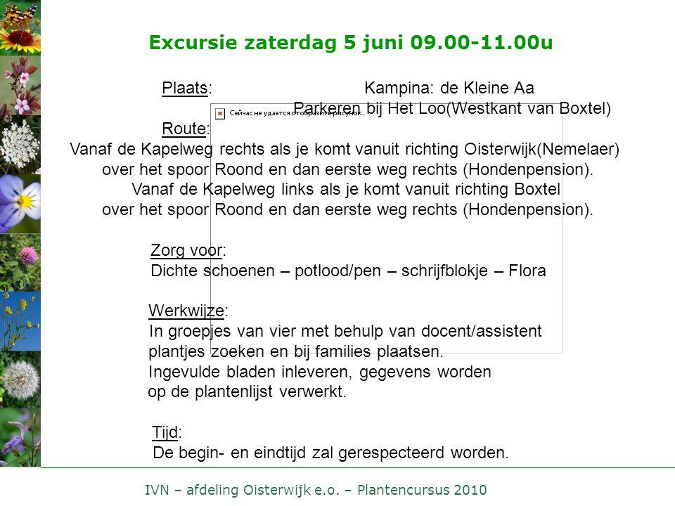 IVN – afdeling Oisterwijk e.o. – Plantencursus 2010 Excursie zaterdag 5 juni 09.00-11.00u Plaats:Kampina: de Kleine Aa Parkeren bij Het Loo(Westkant v