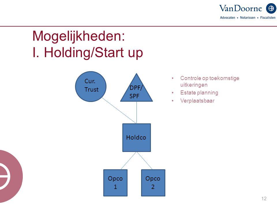Mogelijkheden: I. Holding/Start up 12 DPF/ SPF Holdco Controle op toekomstige uitkeringen Estate planning Verplaatsbaar Opco 1 Opco 2 Cur. Trust