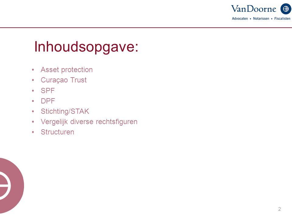 Inhoudsopgave: 2 Asset protection Curaçao Trust SPF DPF Stichting/STAK Vergelijk diverse rechtsfiguren Structuren