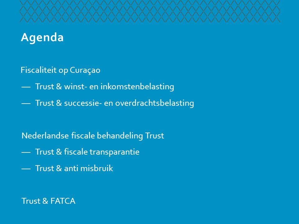 Fiscaliteit op Curaçao Uitgangspunt winstbelasting —Fiscale behandeling Trust gelijk aan SPF —Subjectieve belastingplicht, in beginsel dus belast —Volledige vrijstelling indien geen onderneming wordt gedreven —Optioneel effectief belast tegen 10%, 3 jaarcontract en kwalificatie als doelvermogen