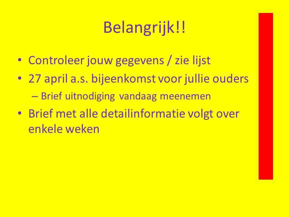 Belangrijk!! Controleer jouw gegevens / zie lijst 27 april a.s. bijeenkomst voor jullie ouders – Brief uitnodiging vandaag meenemen Brief met alle det
