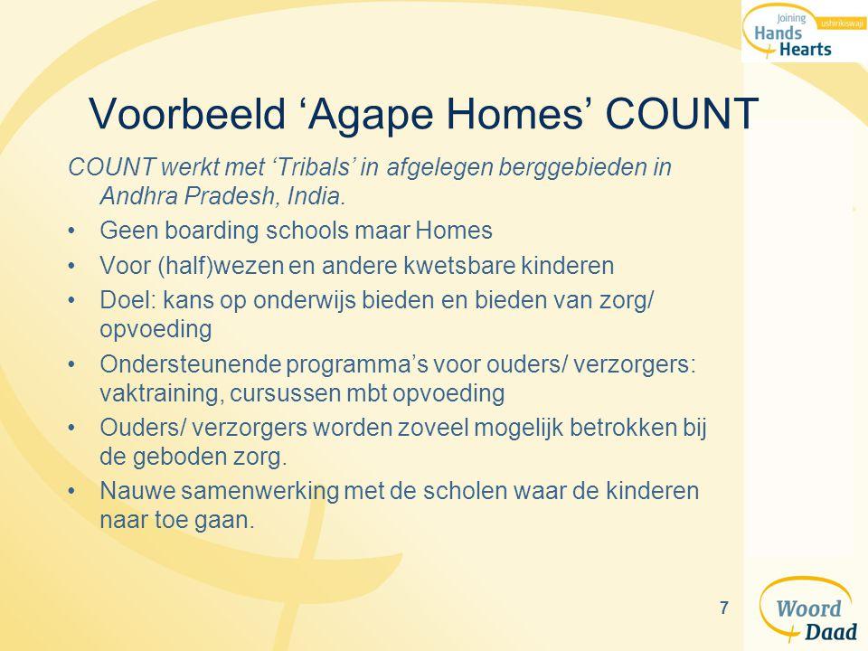 7 Voorbeeld 'Agape Homes' COUNT COUNT werkt met 'Tribals' in afgelegen berggebieden in Andhra Pradesh, India. Geen boarding schools maar Homes Voor (h