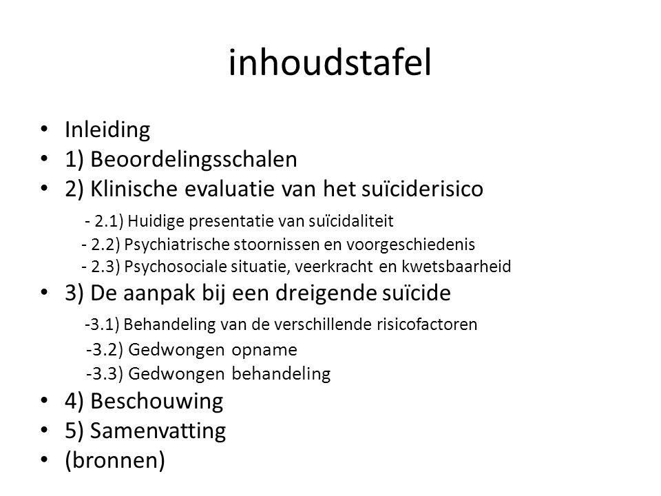 inhoudstafel Inleiding 1) Beoordelingsschalen 2) Klinische evaluatie van het suïciderisico - 2.1) Huidige presentatie van suïcidaliteit - 2.2) Psychia