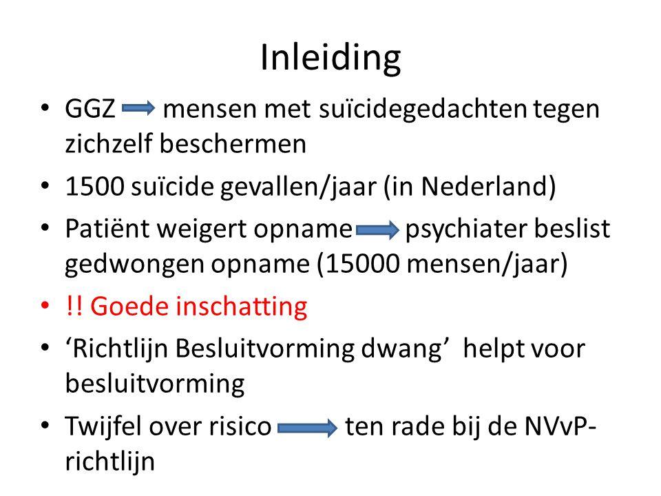 Inleiding GGZ mensen met suïcidegedachten tegen zichzelf beschermen 1500 suïcide gevallen/jaar (in Nederland) Patiënt weigert opname psychiater beslis