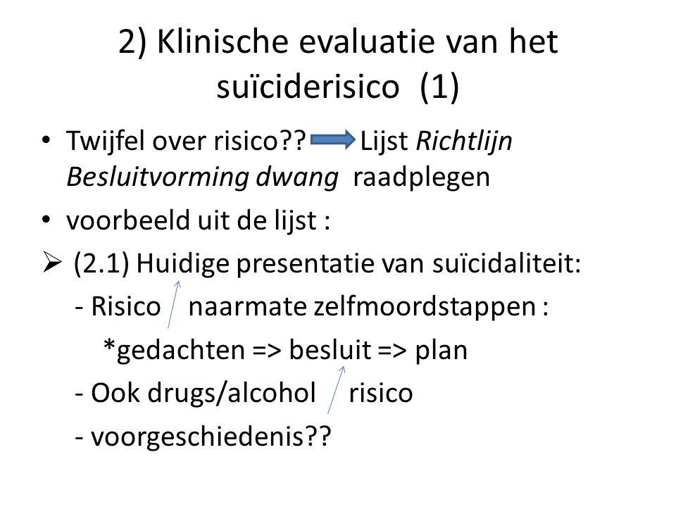 2) Klinische evaluatie van het suïciderisico (1) Twijfel over risico?? Lijst Richtlijn Besluitvorming dwang raadplegen voorbeeld uit de lijst :  (2.1