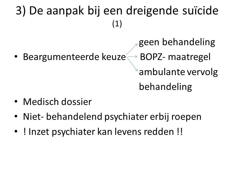 3) De aanpak bij een dreigende suïcide (1) geen behandeling Beargumenteerde keuze BOPZ- maatregel ambulante vervolg behandeling Medisch dossier Niet-
