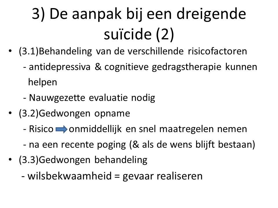 3) De aanpak bij een dreigende suïcide (2) (3.1)Behandeling van de verschillende risicofactoren - antidepressiva & cognitieve gedragstherapie kunnen h