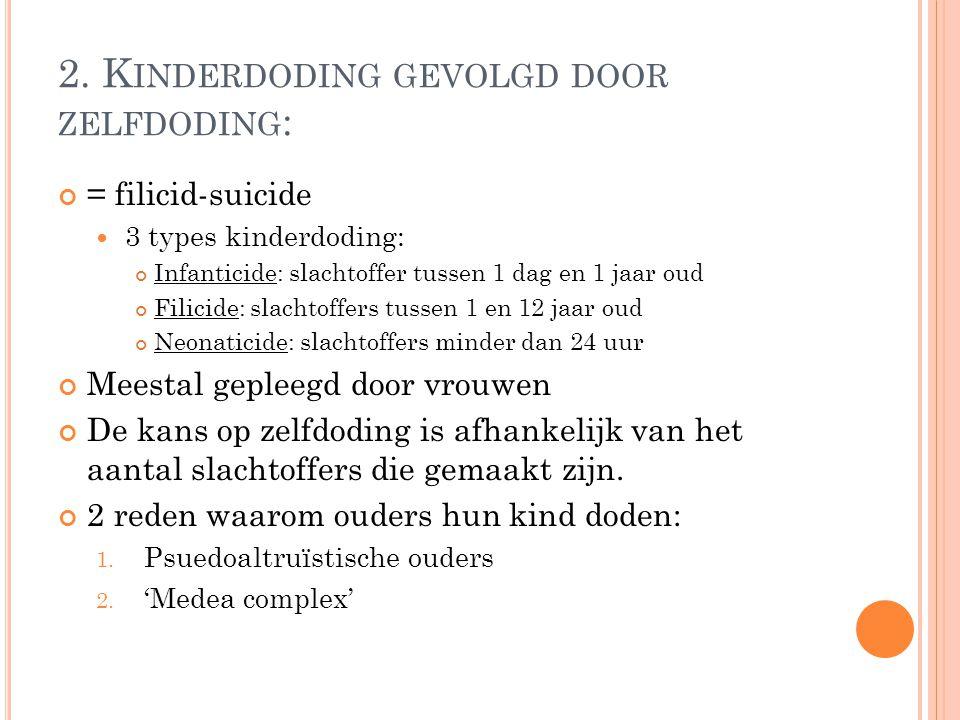2. K INDERDODING GEVOLGD DOOR ZELFDODING : = filicid-suicide 3 types kinderdoding: Infanticide: slachtoffer tussen 1 dag en 1 jaar oud Filicide: slach