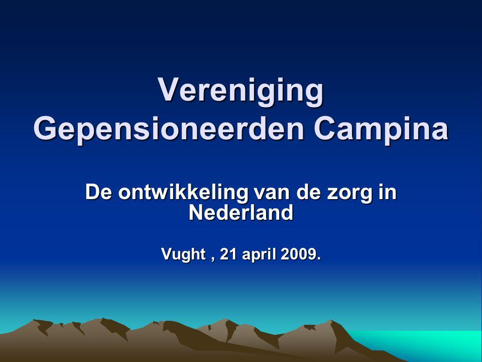 Vereniging Gepensioneerden Campina De ontwikkeling van de zorg in Nederland Vught, 21 april 2009.