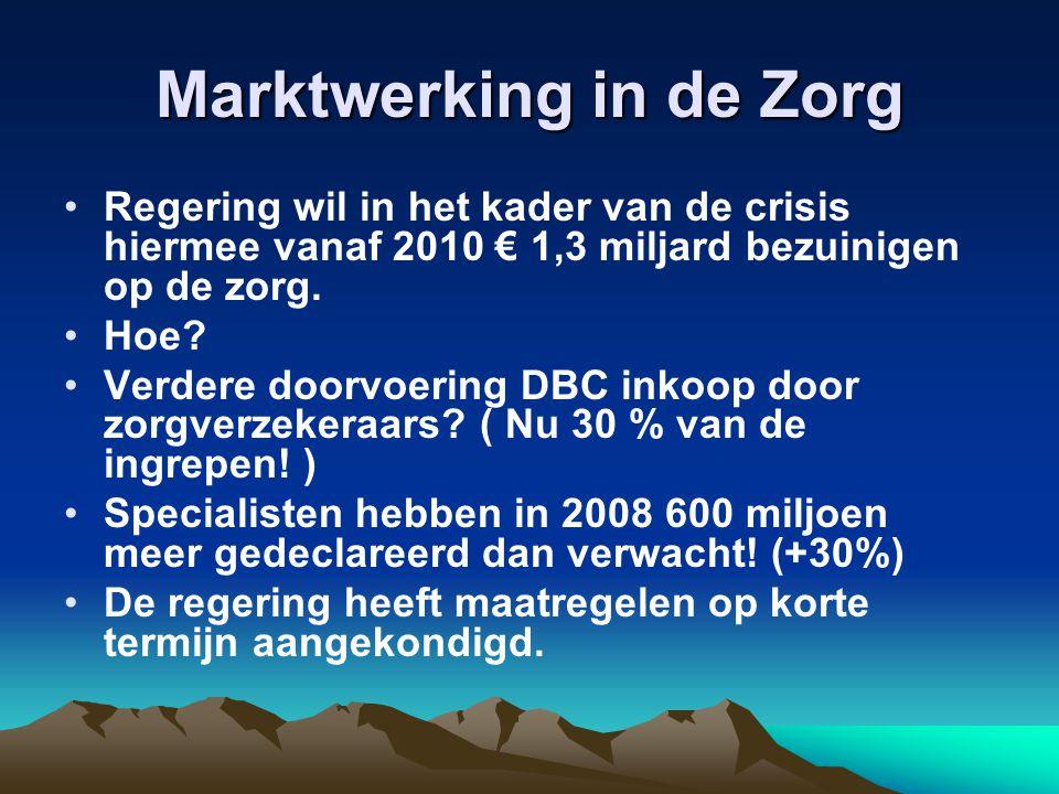 Marktwerking in de Zorg Regering wil in het kader van de crisis hiermee vanaf 2010 € 1,3 miljard bezuinigen op de zorg. Hoe? Verdere doorvoering DBC i