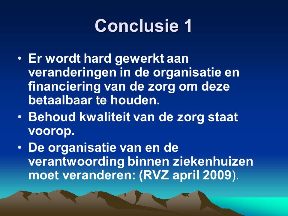 Conclusie 1 Er wordt hard gewerkt aan veranderingen in de organisatie en financiering van de zorg om deze betaalbaar te houden. Behoud kwaliteit van d