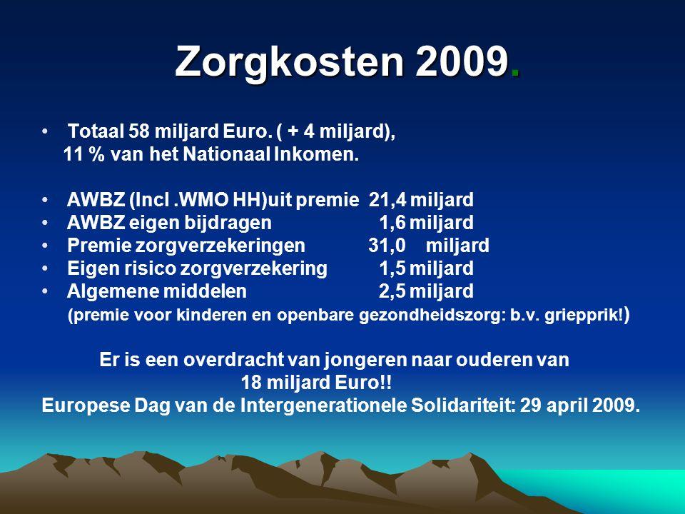 Zorgkosten 2009. Zorgkosten 2009. Totaal 58 miljard Euro. ( + 4 miljard), 11 % van het Nationaal Inkomen. AWBZ (Incl.WMO HH)uit premie 21,4 miljard AW