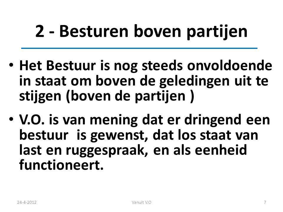 2 - Besturen boven partijen Het Bestuur is nog steeds onvoldoende in staat om boven de geledingen uit te stijgen (boven de partijen ) V.O.