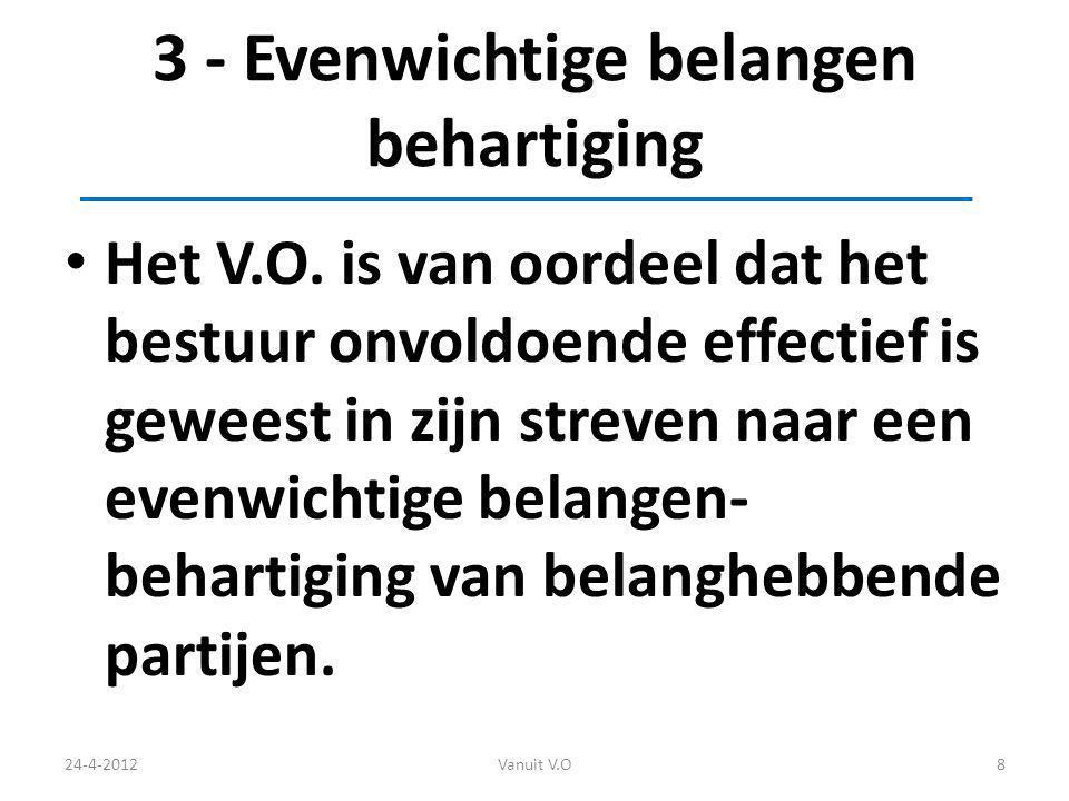 3 - Evenwichtige belangen behartiging Het V.O.