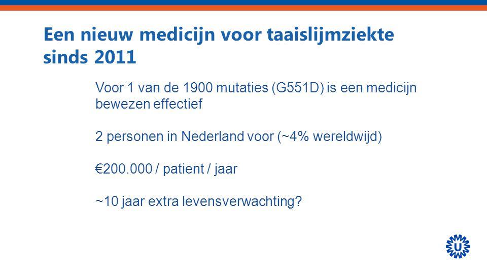 Een nieuw medicijn voor taaislijmziekte sinds 2011 Voor 1 van de 1900 mutaties (G551D) is een medicijn bewezen effectief 2 personen in Nederland voor