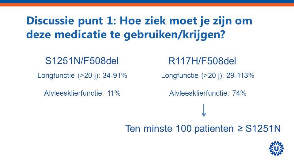 Discussie punt 1: Hoe ziek moet je zijn om deze medicatie te gebruiken/krijgen? S1251N/F508del R117H/F508del Longfunctie (>20 j): 34-91% Alvleesklierf