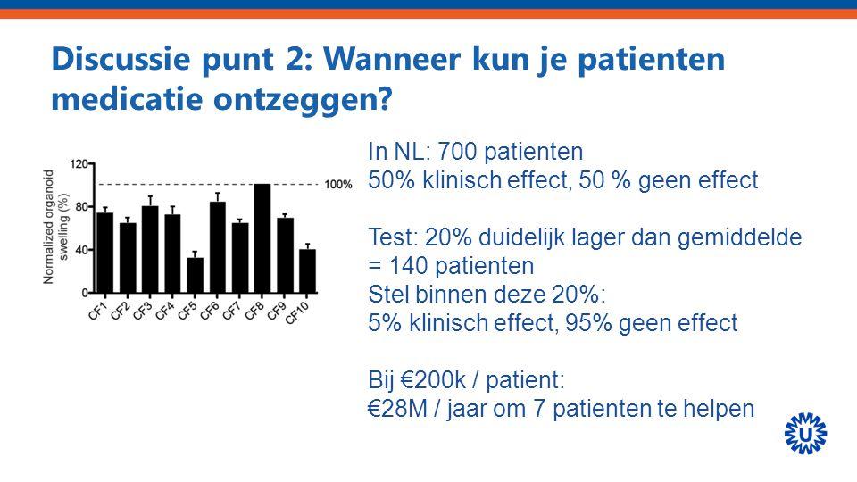 Discussie punt 2: Wanneer kun je patienten medicatie ontzeggen? In NL: 700 patienten 50% klinisch effect, 50 % geen effect Test: 20% duidelijk lager d