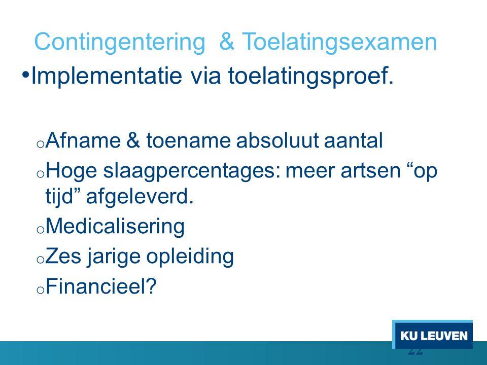 Contingentering & Toelatingsexamen Implementatie via toelatingsproef.