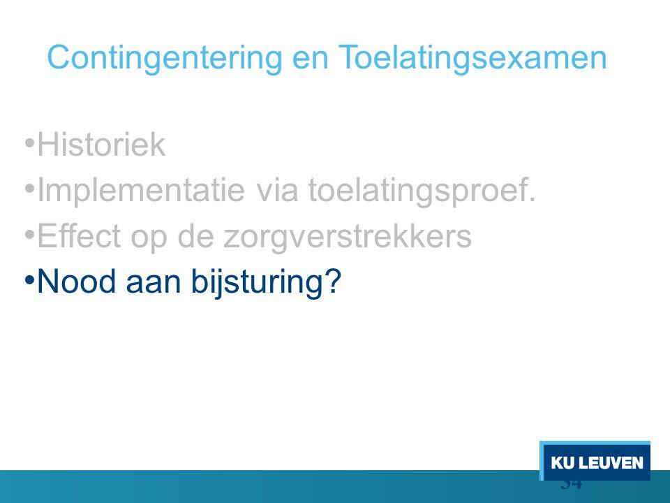 Contingentering en Toelatingsexamen Historiek Implementatie via toelatingsproef.