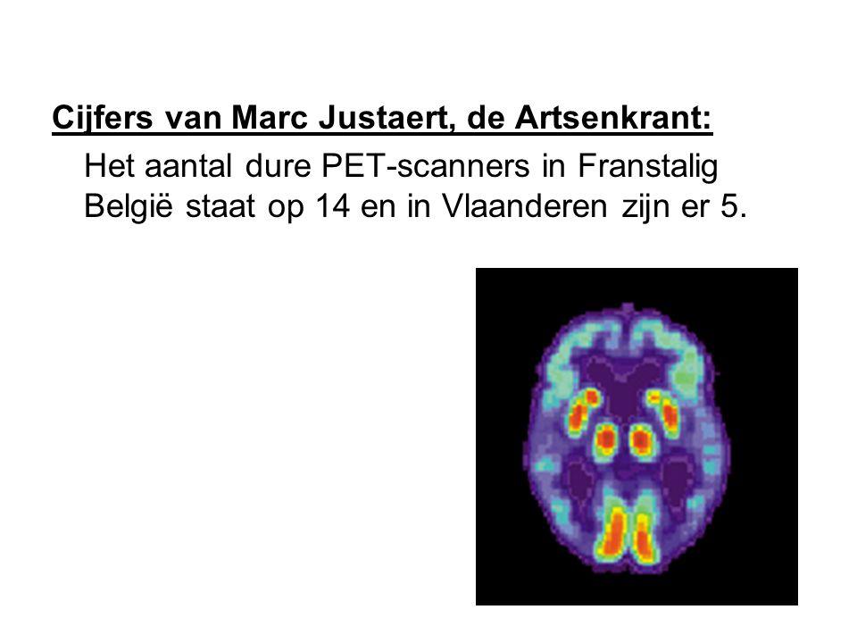 Cijfers van Marc Justaert, de Artsenkrant: Het aantal dure PET-scanners in Franstalig België staat op 14 en in Vlaanderen zijn er 5.