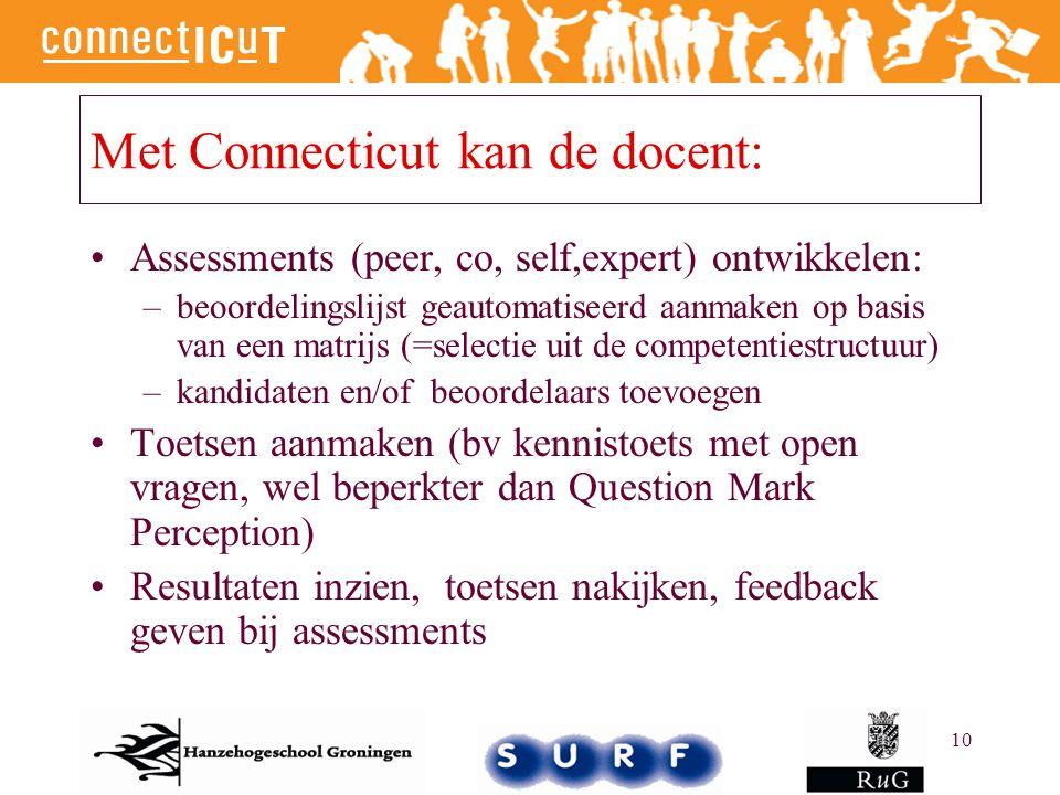 10 Met Connecticut kan de docent: Assessments (peer, co, self,expert) ontwikkelen: –beoordelingslijst geautomatiseerd aanmaken op basis van een matrij