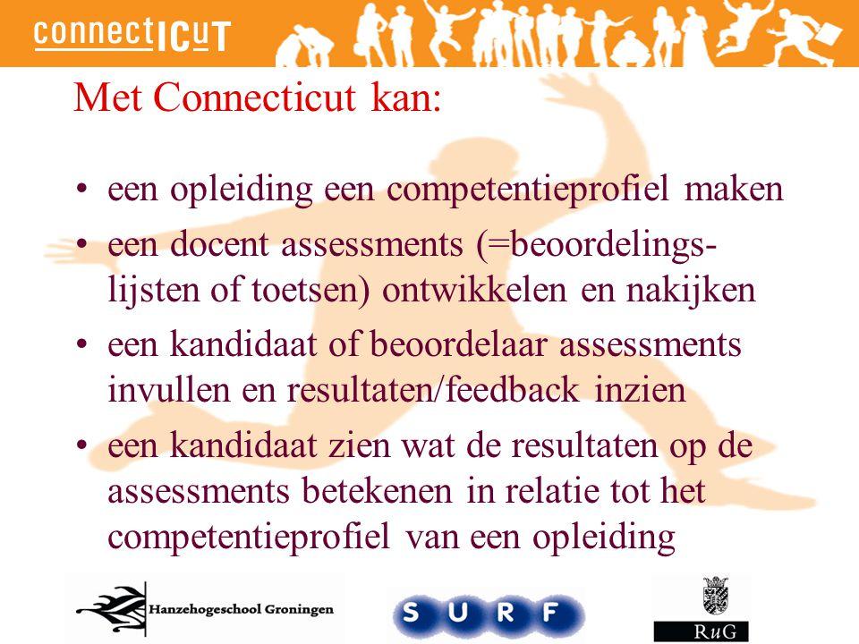 Met Connecticut kan: een opleiding een competentieprofiel maken een docent assessments (=beoordelings- lijsten of toetsen) ontwikkelen en nakijken een