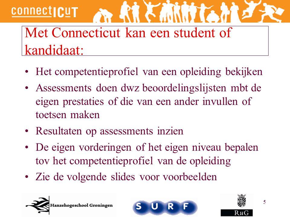 5 Met Connecticut kan een student of kandidaat: Het competentieprofiel van een opleiding bekijken Assessments doen dwz beoordelingslijsten mbt de eige