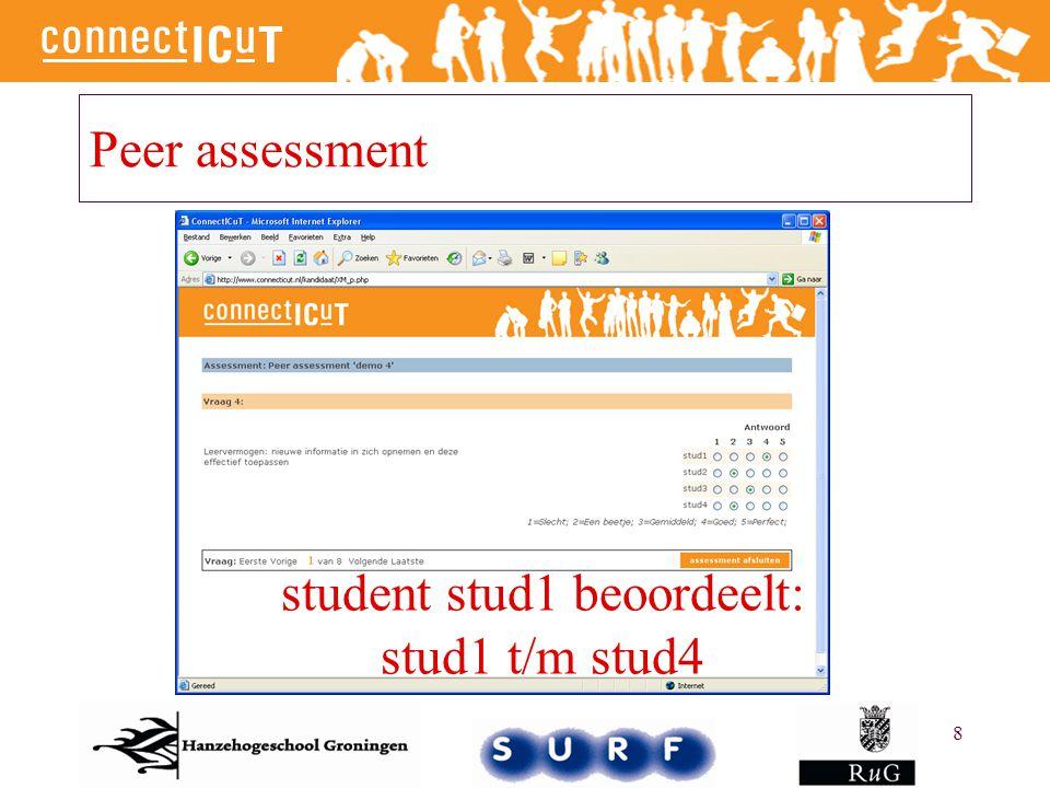 8 Peer assessment student stud1 beoordeelt: stud1 t/m stud4
