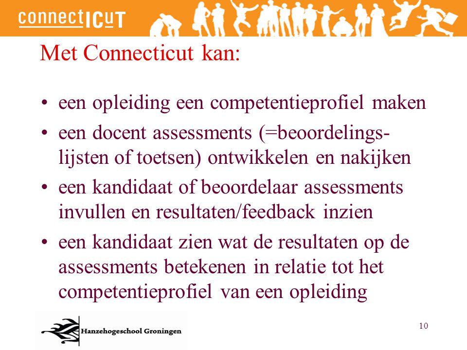10 Met Connecticut kan: een opleiding een competentieprofiel maken een docent assessments (=beoordelings- lijsten of toetsen) ontwikkelen en nakijken