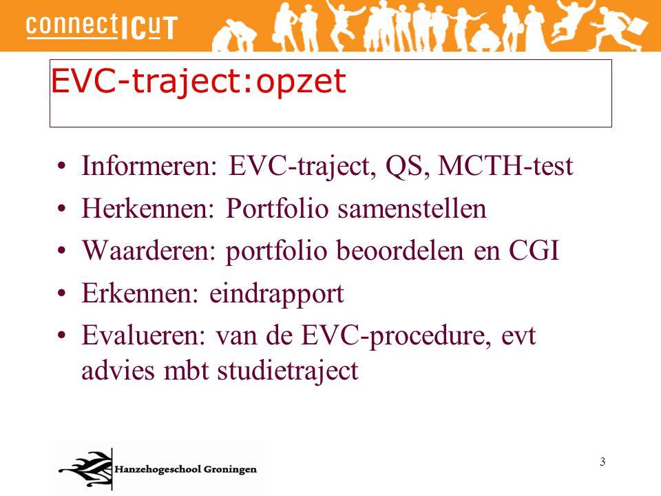 3 EVC-traject:opzet Informeren: EVC-traject, QS, MCTH-test Herkennen: Portfolio samenstellen Waarderen: portfolio beoordelen en CGI Erkennen: eindrapp