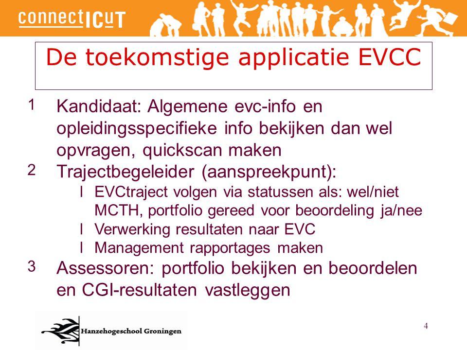 4 De toekomstige applicatie EVCC 1 Kandidaat: Algemene evc-info en opleidingsspecifieke info bekijken dan wel opvragen, quickscan maken 2 Trajectbegel