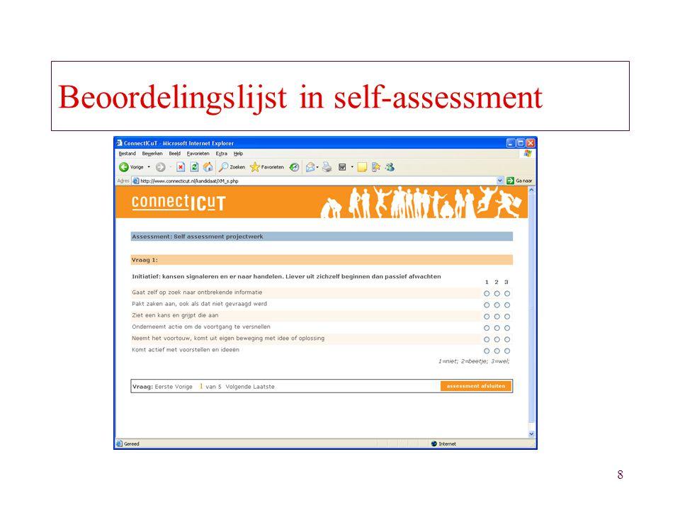 8 Beoordelingslijst in self-assessment
