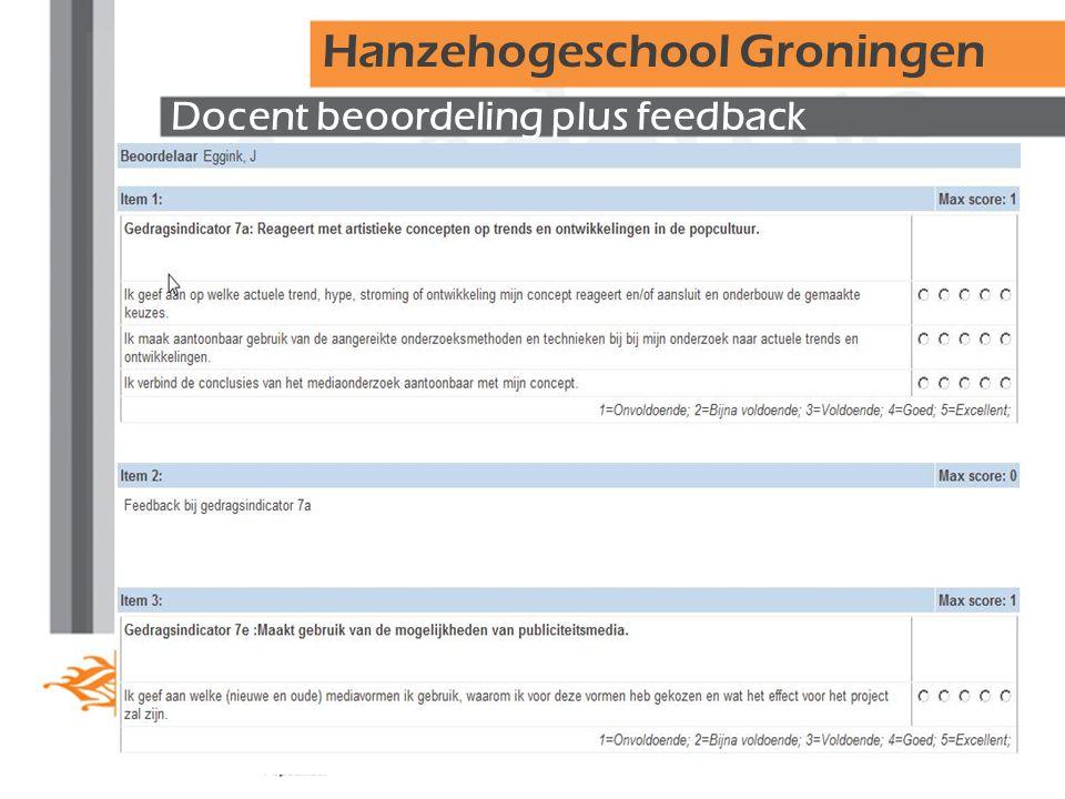 Docent beoordeling plus feedback Hanzehogeschool Groningen