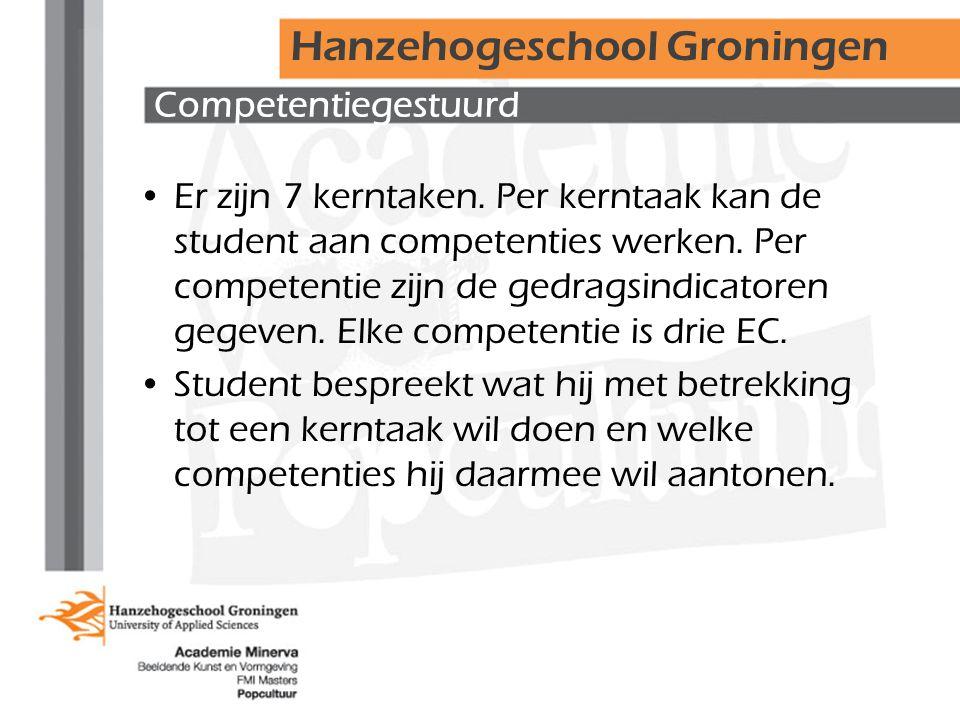 Competentiegestuurd Er zijn 7 kerntaken. Per kerntaak kan de student aan competenties werken.