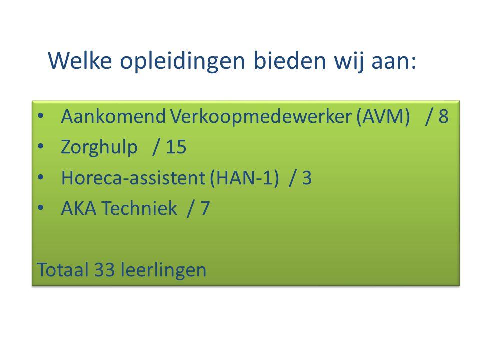 Welke opleidingen bieden wij aan: Aankomend Verkoopmedewerker (AVM) / 8 Zorghulp / 15 Horeca-assistent (HAN-1) / 3 AKA Techniek / 7 Totaal 33 leerling