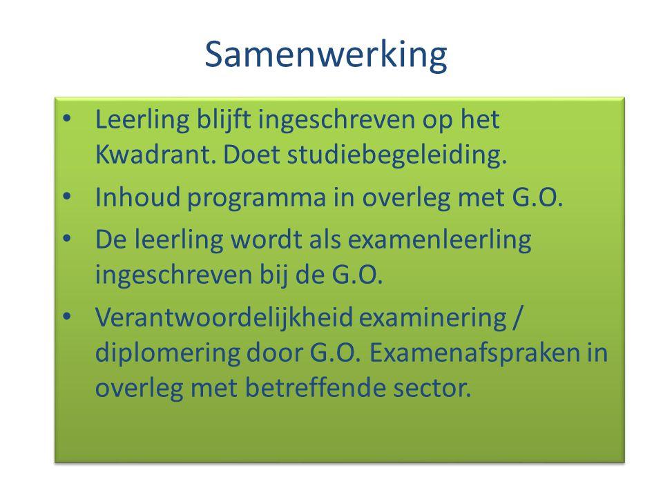 Samenwerking Leerling blijft ingeschreven op het Kwadrant. Doet studiebegeleiding. Inhoud programma in overleg met G.O. De leerling wordt als examenle